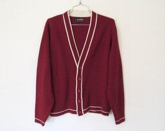 SWEATER SALE Men's Vintage 1970s Puritan Sportswear Cardigan / Burgundy & White Acrylic Knit Sweater