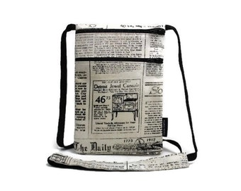 Vintage Newspaper Articles small zipper pouch, Passport holder, Fabric travel wallet, Neck Pouch, Sling bag, Travel Accessory, Black & White