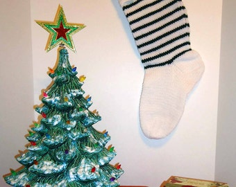 Christmas Stocking - Classic Handmade Old Fashioned Style - Knitted / Crochet - Please See Pictures for Color & Design Details - (#34)