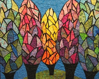 Colorful Trees Wall Hanging Art Quilt