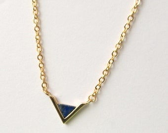 Gold Point Necklace, Synthetic Lapis Lazuli Necklace, V Necklace, Matte Gold Necklace, Gemstone Jewellery, UK Seller