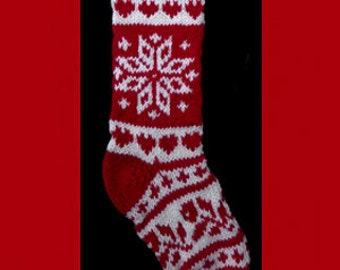 """Hand knit Christmas stocking,  Personalized, made of pure wool yarn,  fully lined -- reindeer and snowflake, red and white, 25"""" tall"""