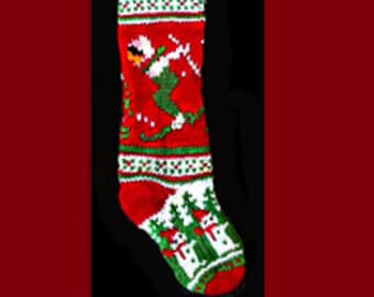 Hand knit Christmas stocking,  Personalized, made of pure wool yarn,  fully lined -- skier, holly  and  snowman