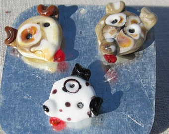 lampwork glass magnets; set of 3 glass puppy dog magnets