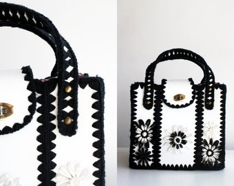 Funky Vintage Black and White Craft Style Handmade Large Tote Bag Purse