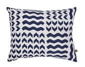 Lucknow Navy/Sky Screen-Printed cushion