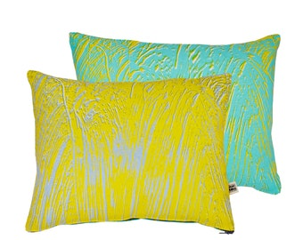 Painter Yellow/Mint Screen-Printed cushion