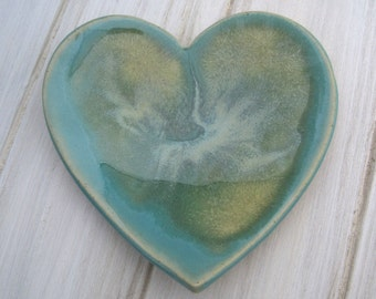 Blue Green Ceramic Heart Dish, Jewelry Holder, Ceramic Catch All, Heart Dish, Wedding Gift, Ring Dish, Jewelry Storage