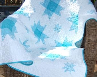 Beautiful Aqua Stars Handmade Baby Quilt or Lap Quilt Throw