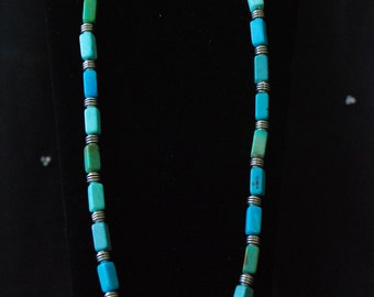 Turquoise necklace with antiqued silver beads