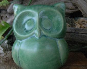 Ceramic  Owl Statue in  mottled Green trimmed Garden  decoration   cm