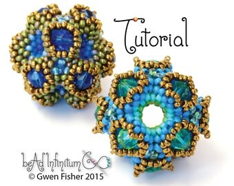 TUTORIAL Coral Cube Beaded Bead Made with Peyote Stitch and Seed Beads