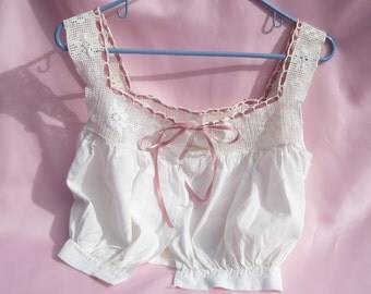 Vintage Camisole Antique Camisole with Hand Crocheted Cream Yoke Crocheted Camisole Vintage Lingerie Antique Lingerie Hand Made Camisole