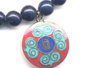 Kalichakra Gau Necklace, Ethnic Lapis Coral Turquoise Necklace, Kalichakra Nepal Necklace, Zen Necklace, Handmade Nepal Jewelry by AnnaArt72