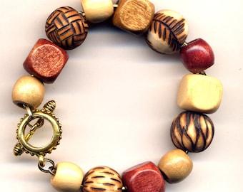 Foliage  Bracelet, OOAK Wood Burned Bracelet, Unique Handmade Wood Bracelet, Fall Color Wooden Bracelet, Eco friendly design by AnnaArt72