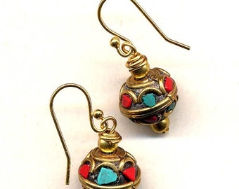 SALE Tibetan Earrings, Tibet Earrings, Nepal Earrings, Coral and Turquoise Earrings, 18K gold filled Wire, Handmade Nepal Jewelry by AnnaArt