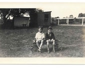 Little Boys in Wagon vintage Photo Country Farm Kids 1930s Snapshot