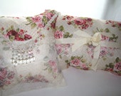 Complete Shabby Chic Style  Decorative Pillow Rows ofDelicate  Beige Lace  Red Roses Beads  Cottage Chic