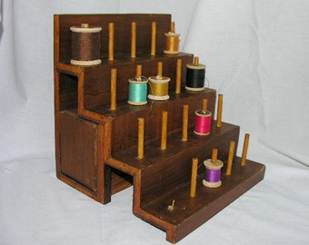 Vintage Handmade Wooden Thread Rack Country Style
