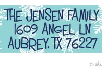 Snowflakes address labels - set of 75