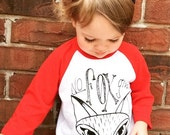 red and white baby fox baseball tee size 6-12, 12-18, 18-24 months