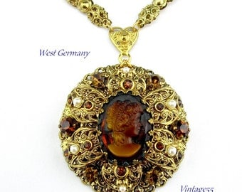 Vintage Necklace West German Filigree Cameo Fall Colors