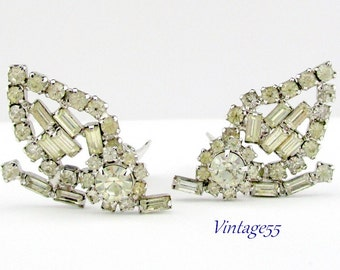 Rhinestone Earrings Clear Leaf Clip on