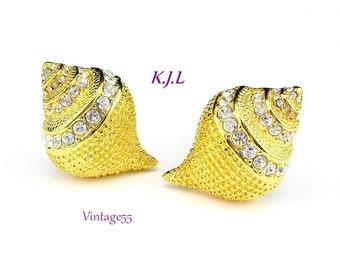 Earrings Kenneth J Lane Rhinestone Seashell Clip on