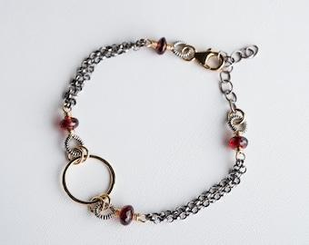 Margot Sphere Bracelet w/ Garnet in Two-Toned Metal