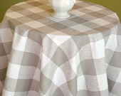 Taupe White Buffalo Check Round Tablecloth - Premier Prints Anderson Ecru -  Wedding, Banquet, Party, Holiday - Choose Size