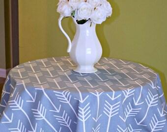 Blue Arrow Round Tablecloth - Premier Prints Cashmere Blue & White  Archery Aztec Southwest Tribe - Choose Size
