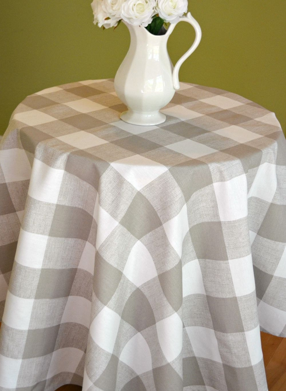 Taupe White Buffalo Check Round Tablecloth Premier Prints