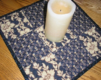 Quilted Table Runner / Topper in Black and Gold, 13 1/2 x 13 1/2 inches