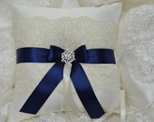 Wedding Ring Bearer Pillow,Bridal Ring Bearers, Navy Blue And Ivory Satin Lace Ring bearer Pillow
