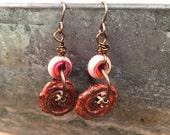 Handmade Dangle Earrings Ceramic and Glass Handmade Beads Gift Ideas for Her