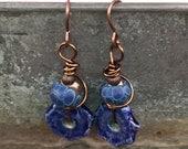 Handmade Blue Dangle Earrings Ceramic and Glass Handmade Beads Gift Ideas for Her