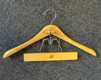 Setwell Wooden Contour Suit Hanger Combo Jacket Pants Clip Hanger Vintage