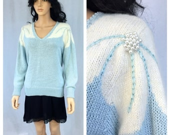Vintage Pale Blue and White Pullover Sweater. Medium. Angenie. Angora. Acrylic. White Lily Flower Design. Pearl Center. Under 30. 1980s.