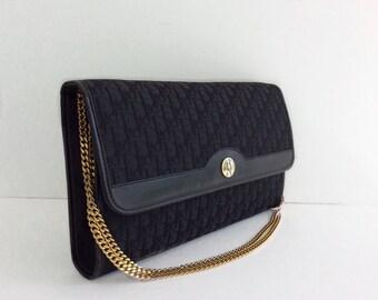 vintage Christian Dior purse // chain strap convertible clutch // black logo French handbag