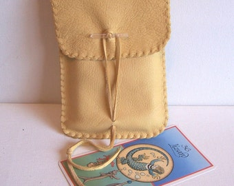 Leather Tarot Bag / Medicine Bag...LARGE Vertical Flap..CREAM