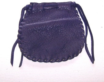 Beautiful Deerskin Leather Medicine Bag .. Seamed..PURPLE