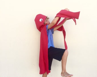 Red Octopus Cape, Halloween Costume or Dress Up Cape for all ages, Kids Halloween Costume