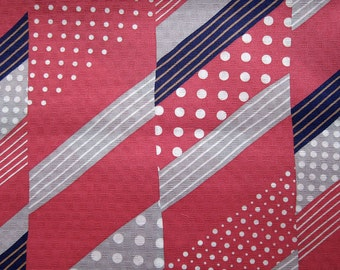 FREE SHIPPING Japanese Fabric Textured Cotton - Dots and Stripes in Cranberry and Gray - Fat Quarter SALE