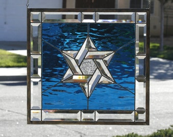 STAR OF DAVID~Large Stained Glass Window Panel, Stain Glass, Clear Bevels, Clear Beveled Star, Jewish, Judaisim, Sea Blue, Ready to Ship