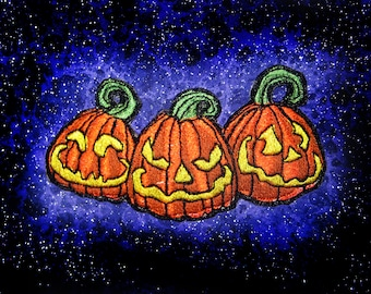 3 Smileing Halloween Jack o Lanterns Pumpkin Pumpkins Iron on Patch