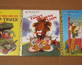 3 Vintage Little Golden Books - Tawny Scrawny Lion, House that Jack Built, Happy Man and Dump Truck