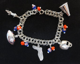 Florida Gators Football Sterling Silver Charm Bracelet, Orange Blue Beads, Vintage Football Charms, Florida Gators Bracelet, Florida Jewelry