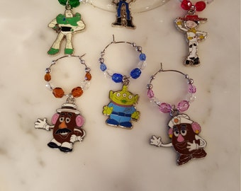 Toy Story Themed  Wine Charms w/Pouch