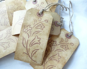 Flowers Hang Tags, 10 primitive tags, coffee stained, large hang tags, gift tags, wedding, unique tags, handmade hang tags, price tags