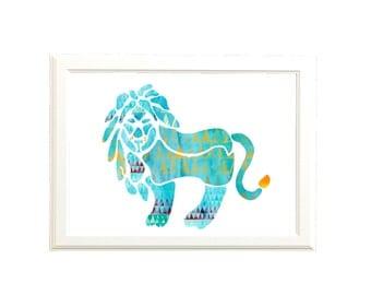 Tribal Printable Art  / Lion Wall Art / Safari Nursery Art Printable / Digital Download Print / DIY Art Print / Blue Orange Red